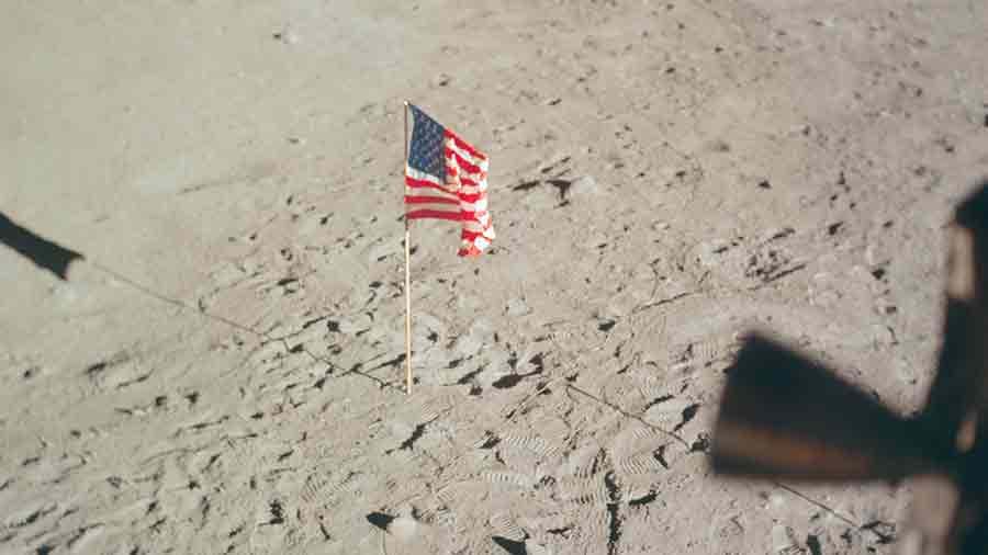 Drapeau Etats Unis Lune